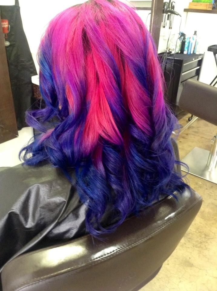 Pink and navy blue ombre dip dyed hair | Dip dye | Pinterest