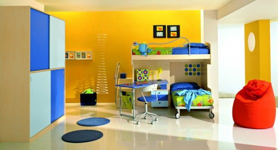 Boys room with bright colours