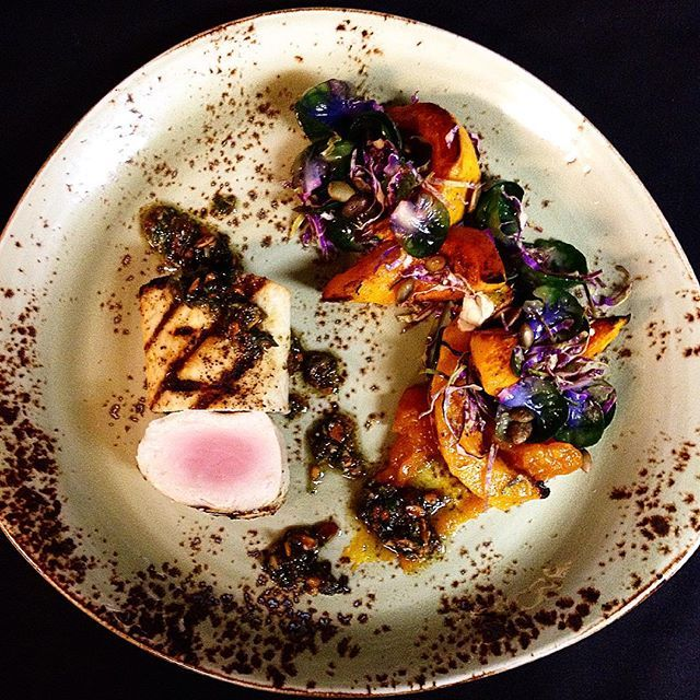 #Swordfish ! With #purplebrusselsprouts , baby pumpkin, pumpkin jam, seed pesto, and ginger lime dressing. #seasonal @northbondifish #northbondifish #sydneylife