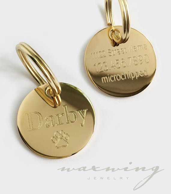 Personalized Pet Tag Round Gold or Silver 1 or 1.25 inch charm