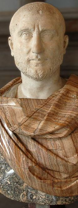 Possibly Emperor Gordian II, Roman bust (marble), 3rd century AD, (Palazzo Nuovo, Rome).