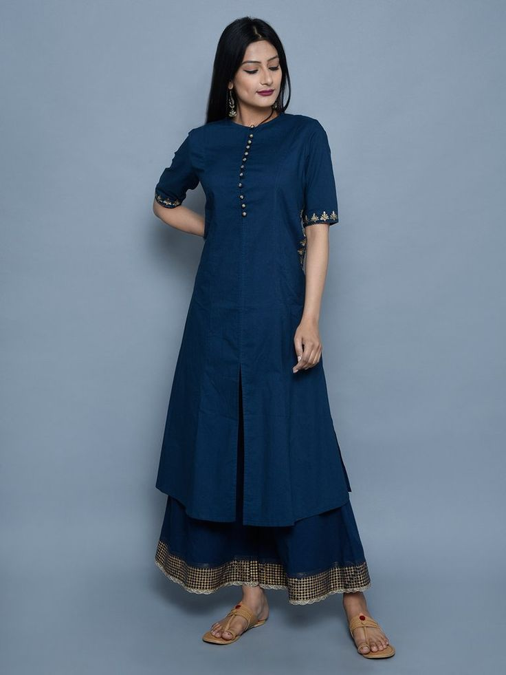 Navy Embroidered Cotton Kurta, Sharara Pants- Set of 2