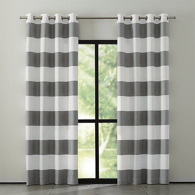 """Sophisticated modern curtain panels alternating horizontal stripes of ivory cotton and lustrous grey cotton sateen hang from oversized matte silver grommets. <a href=/rugs-and-curtains/curtain-hardware/1>Curtain hardware</a> also available.<br /><br /><NEWTAG/><ul><li>100% cotton face</li><li>Lining: 64% polyester 36% cotton</li><li>Matte silver grommets</li><li>3"""" hem</li><li>Dry clean only</li><li>Curtain panel lengths may vary slightly</li><li>Made in India</li></ul>"""