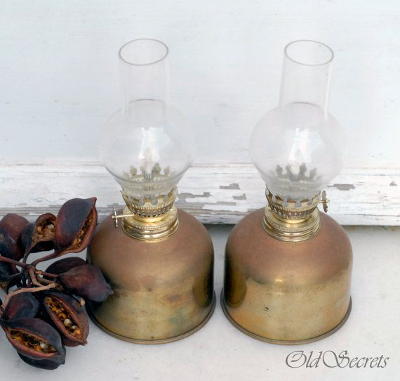 Pair of Rustic Hurricane Brass Lamps by OldSecrets