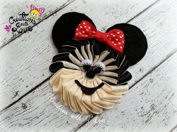 Mimmie Mouse Kanzashi Flower Hair Clip. Mouse por creationslove