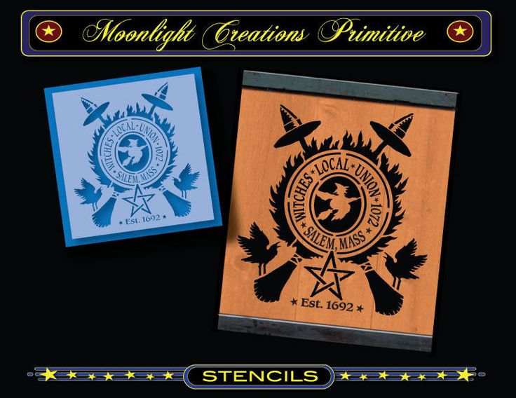 Stencil~Wall Sign~WITCHES LOCAL UNION 1072~Witch Brooms Star Fire Old Crows #MoonlightCreationsStencils