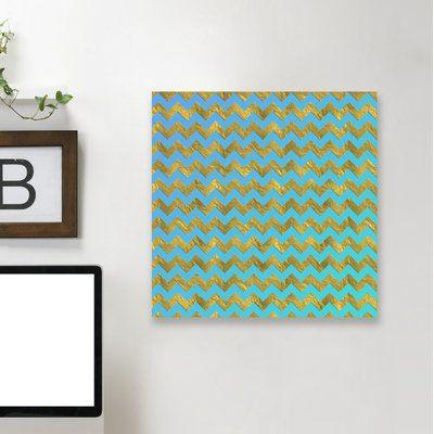 "East Urban Home 'Glitter Chevron' Graphic Art Print Size: 24"" H x 24"" W x 1.5"" D, Format: Canvas"