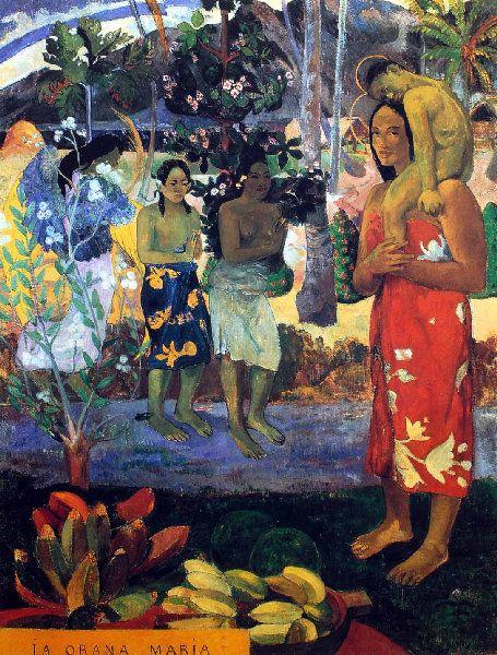 Paul Gauguin - Post Impressionism - Tahiti - Ia orana Marie - Je vous salue Marie - 1892