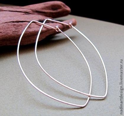 Большие серьги-кольца. Воздушные серебряные серьги.