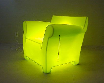 """Wong_1.jpg (425×341)  """"This is a Lamp,"""" an illuminated Philippe Starck Bubble Club chair by Tobias Wong."""