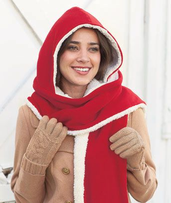 Reversible Hooded Scarf is a 2-in-1 accessory that keeps you toasty. Soft scarf is extra cozy with sherpa fleece lining. Clever cold weather accessory works as a hood and neck warmer. One size fits all. Hood,