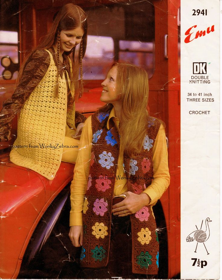 Vintage Pattern Emu2941 for two lovely long tunic vests, (or waistcoats/sleeveless cardigans) . In full festival mode-especially the flower motif one which comes with a photo tutorial pattern PDF WZ739 from WonkyZebra.com on Etsy