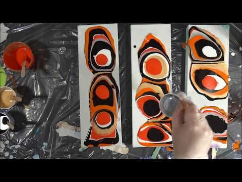 Wonderful Orange Acrylic Pouring Puddle Pour  Just Making A Mess (51)   YouTube