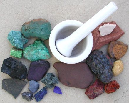 Making your own pigment and paint out of minerals & clays that you dig up or buy from a rock shop.