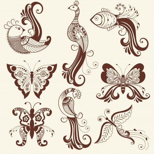 Ilustración vectorial de adorno mehndi. Estilo indio tradicional, elementos florales ornamentales para el tatuaje de la alheña, las etiquetas engomadas, el mehndi y el diseño de la yoga, las tarjetas y las impresiones. Ilustración floral abstracta del vector. Vector Gratis