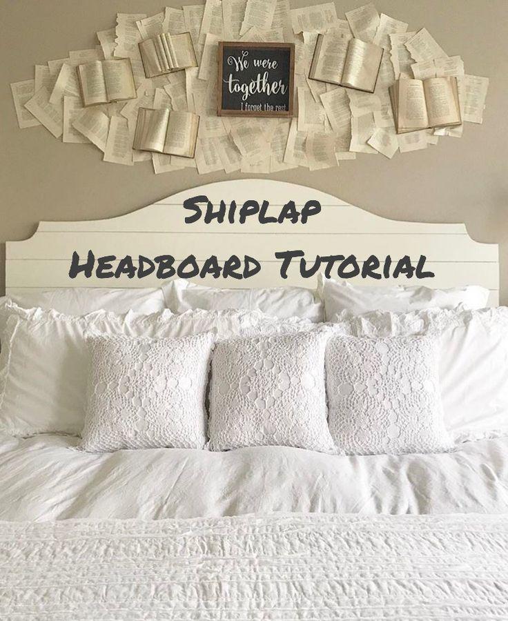 shiplap headboard tutorial shiplap headboard headboard diy shiplap farmhouse decor farmhouse - Kopfteil Plant Holzbearbeitung