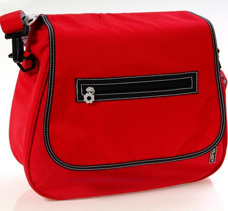El interior de este bolso esta perfectamente organizado, con bolsillos elasticos y con cremalleras tanto en el interior, como en el exterior.    El fondo del bolso tiene unos protectores que le permiten asentarse en el suelo sin que se vuelque. Tiene un bolsillo exterior con cremallera para las toallitas humedas del bebe. Cómpralo en: http://www.ninosbebe.com/tienda/Bolsos/gr8x/Bolso-SATCHEL-Rojo.html#cont