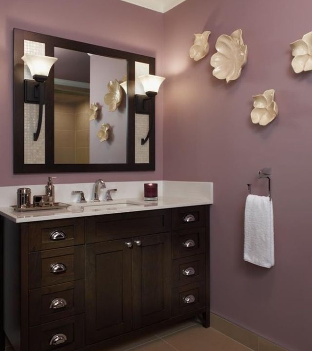 Purple bathroom. Love the color for first floor bathroom