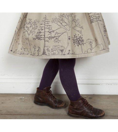Rosie dress Woodland print in plum linen