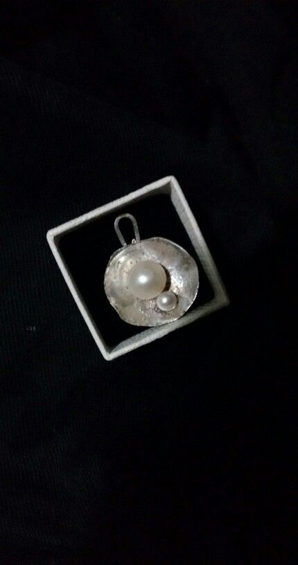 Silver and pearls, all handmade...