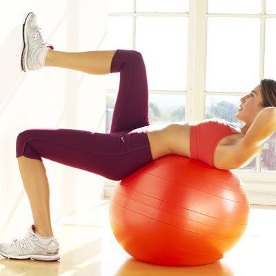 Ball crunch: works central and side abs. Try these easy exercises for flat abs and a strong core in just 4 weeks.   Health.com