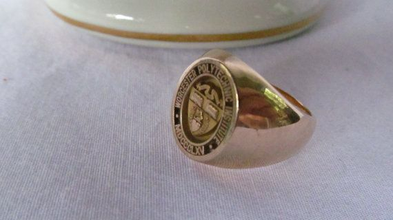 Jackpot of Gold 14K Gold Worcester Polytechnic Institute MDCCCLXV 1865 Machinist Ring  RevintageLannieJewls.Etsy.com
