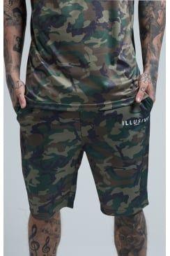 Illusive London Poly-Tricot Camo Shorts