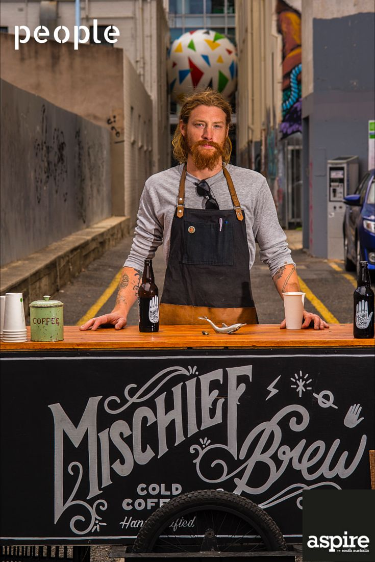 Scott Giles and his pedal-powered coffee cart serves up his cold brew to connoisseurs around Adelaide.  http://www.mischiefbrewcoffee.com/  #People #Portrait #Photography #Adelaide #SouthAustralia #Coffee
