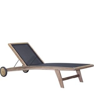Teak Batyline Chaise BY CASUALIFE  Natural Teak  Black Sling