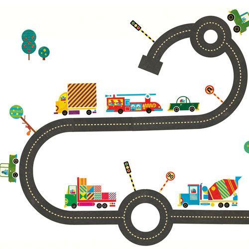Un circuit de petites voitures sur le mur de sa chambre... Le rêve de tous les petits garçons ! Ce décor original viendra égayer la chambre des pilotes de course en herbe !