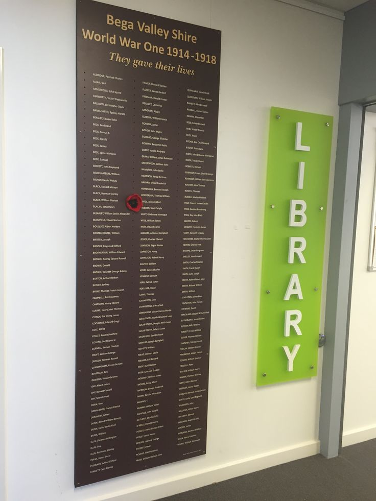 Bermagui Library honour board made for Anzac 2015 commemoration, based on local research and listing names of 185 men who enlisted from the Shire and died in WWI.