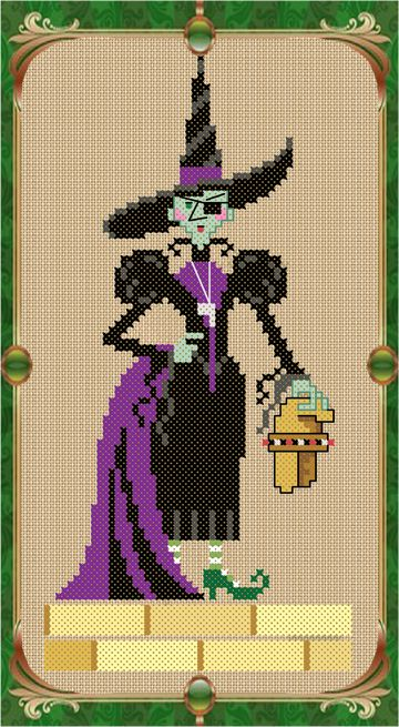 "The Wicked Witch of the West cross stitch chart by Brooke Nolan of Brooke's Books Publishing from ""The Wonderful Wizard of Oz""."