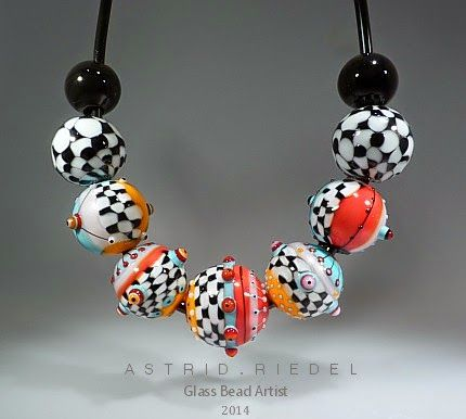 Astrid Riedel Glass Artist: Hollow blown set of Art beads ...