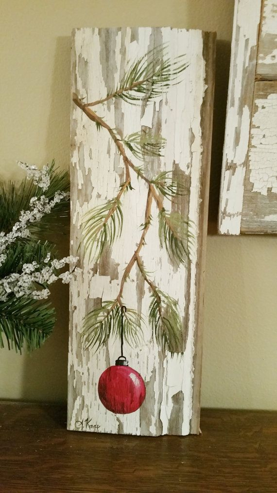 Red Hand Painted Christmas Decoration Gifts Under 25 Pine Branch