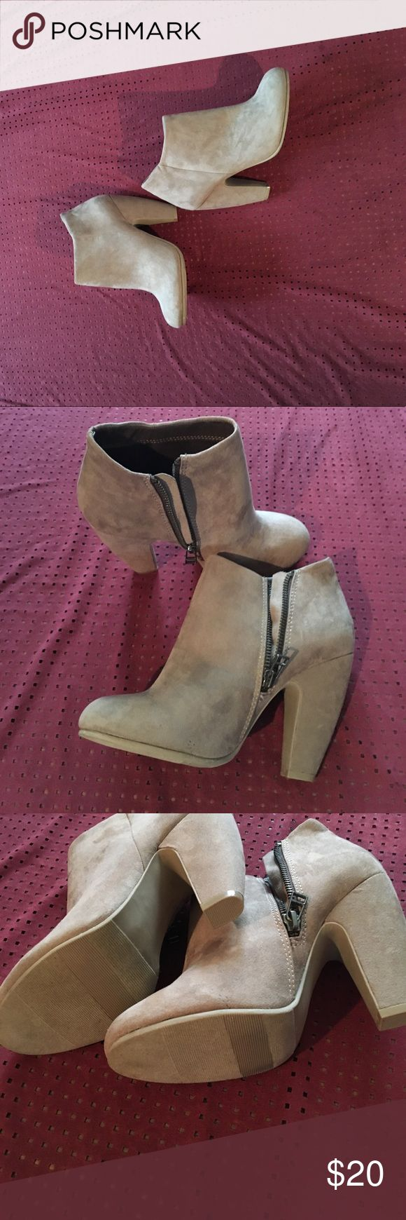 Tan ankle boots by Candies Nwot zipper on side cute boots to wear with skinny jeans dresses or skirts candies Shoes Heeled Boots