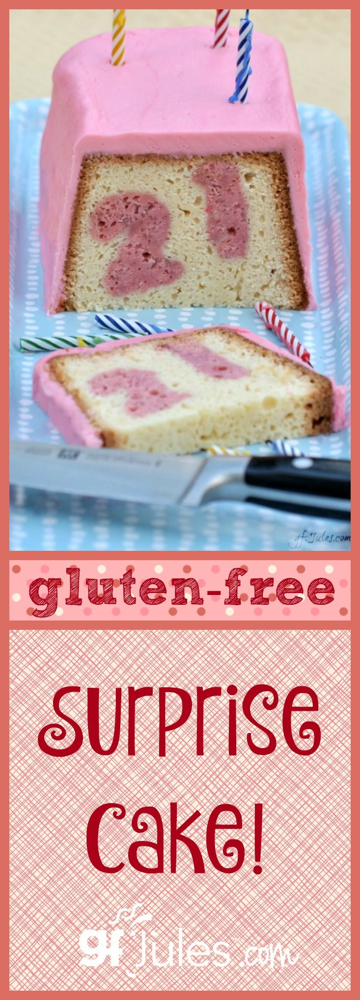 This Gluten Free Surprise Cake may look unassuming, but slice into it to reveal any hearts, shamrocks, stars, numbers...you can imagine baked right inside! Dairy-Free Gluten-Free |gfJules.com