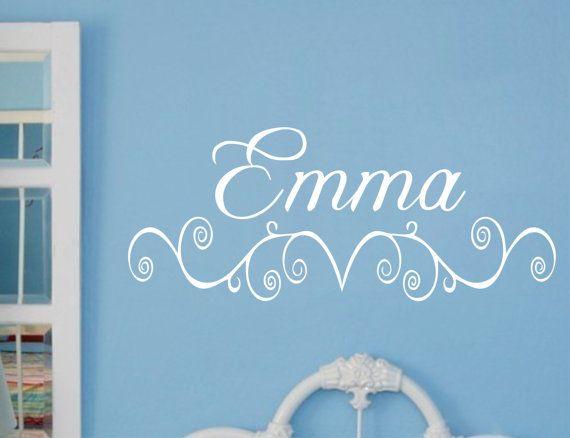 Baby Girl Nursery Wall Decal Name Vinyl Sticker Decor