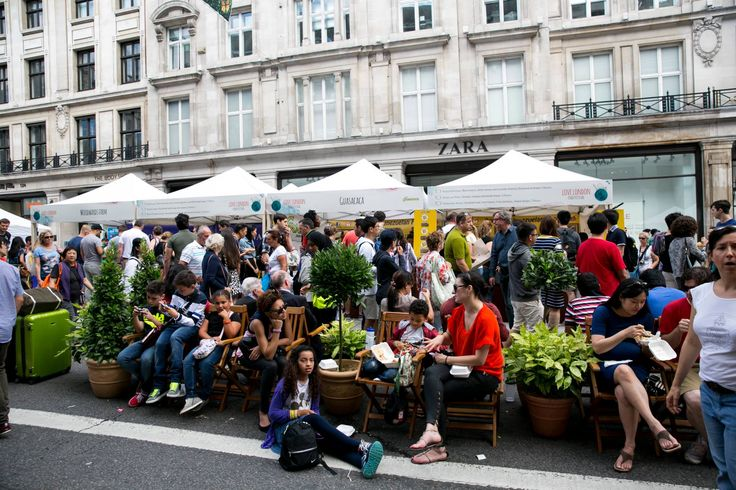 #RegentStreet visitors sample the delights of the Love London Food Festival at the traffic-free #SummerStreets on #RegentStreet.