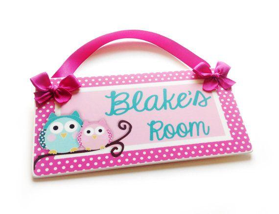 personalized owls bedroom decor kids door signs by kasefazem, $16.99