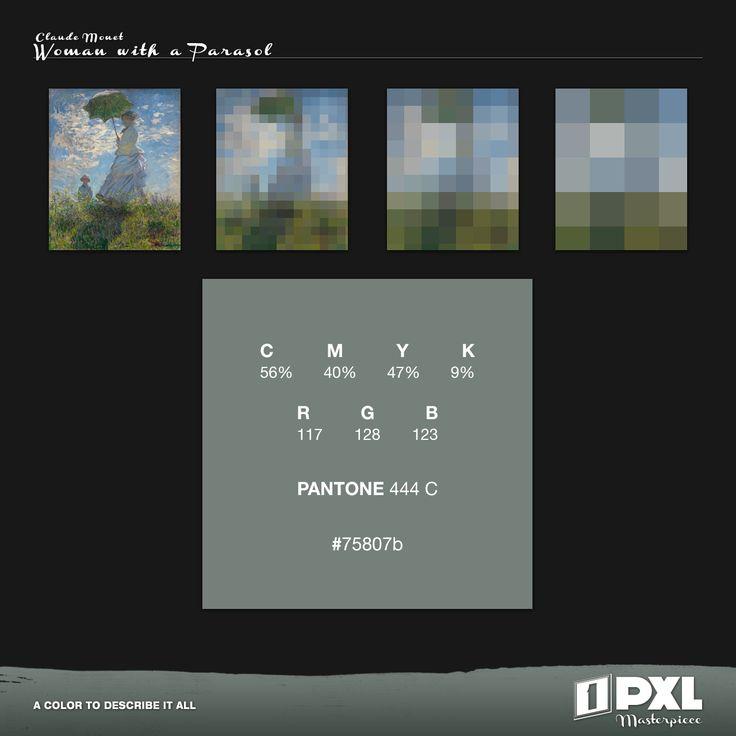 """Woman with a parasol"" by Claude Monet.      C 56% M 40% Y 47% K 9%     R 117 G 128 B 123     PANTONE 444 C     #75807b"