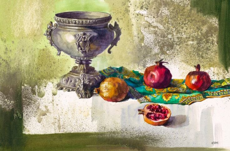 Александр Карпан АКВАРЕЛЬ Натюрморт с серебряной вазой, бум. акв. 50х65