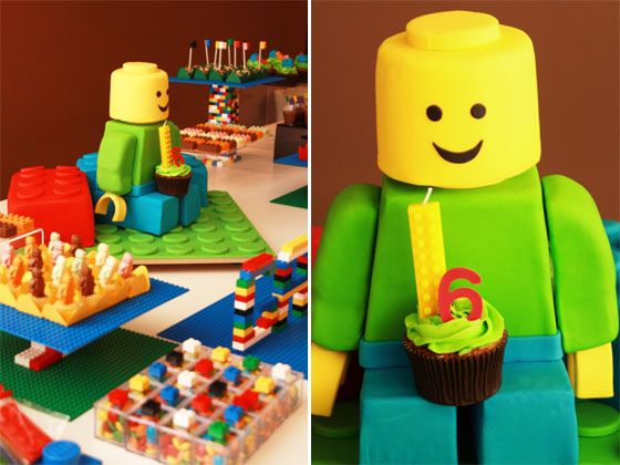 great table setting for a lego party