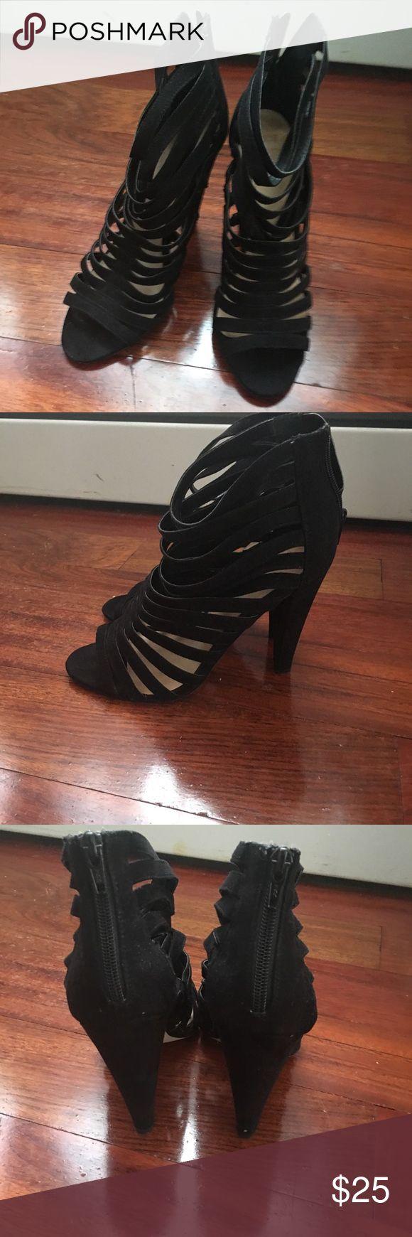 ASOS Black Heeled sandals Sexy Black caged heel sandals ASOS Shoes Sandals