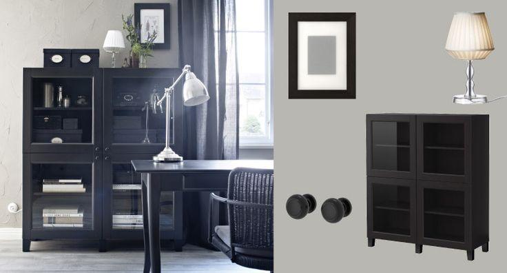 Estantes BESTÅ em preto-castanho com portas em vidro temperado