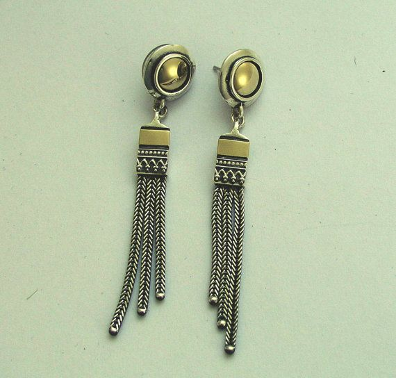 Sterling silver earrings long earrings mixed by artisanimpact, $164.00