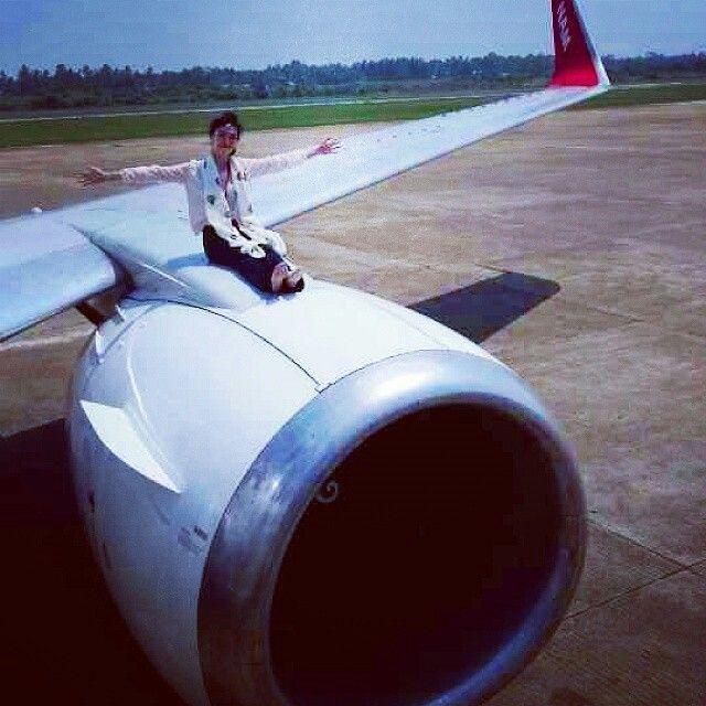 NAM Air casual stewardess doing a different engine pose @des_amanda