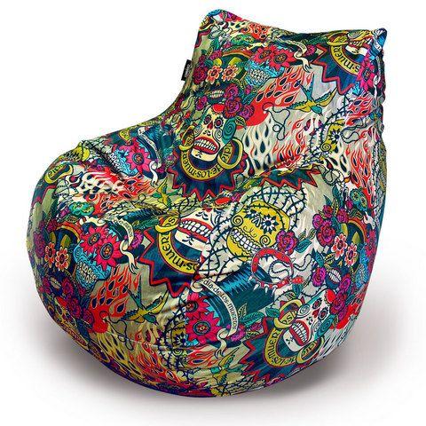 """Пуф-Кресло """"Dia de los muertos"""" (принт) Эксклюзивный авторский принт пуфа-кресла «Dia de los muertos» посвящен одному из главных праздников Латинской Америки – Дню Мёртвых. Яркие рисунки, украшающие чехол этого кресла, не оставят равнодушными любителей стильных предметов интерьера. Благодаря необычной расцветке, это кресло тут же станет одной из самых интересных вещей в вашем доме или офисе. Внешний чехол изготавливается из материала на ваш выбор: оксфорд, флок, велюр."""