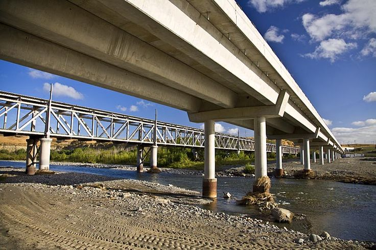 The new and old bridges cross the Awatere River,  see more at New Zealand Journeys app for iPad www.gopix.co.nz
