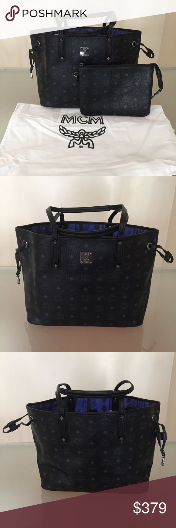 MCM purse tote black reversible handbag authentic, size medium. comes with pouch and authenticity care cards. MCM Bags Totes