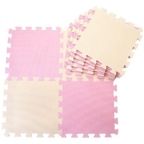 J&Y Pure Colour Kids Soft Flooring Puzzle Mats for Children Jigsaw Mat EVA Foam Play Mat - Pink & Beige (16pcs)
